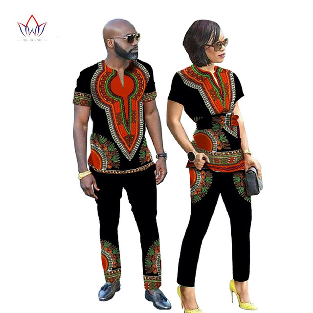 African Dresses for Women New Designs Couple Clothes for Lovers Dashiki Men Shirt Long Sleeve Brand -Clothing Plus Size WYQ24