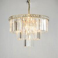 American Style Crystal Chandelier Iron Art RETRO Villa Hotel Golden Lamp Body Bedside Study Circular Living