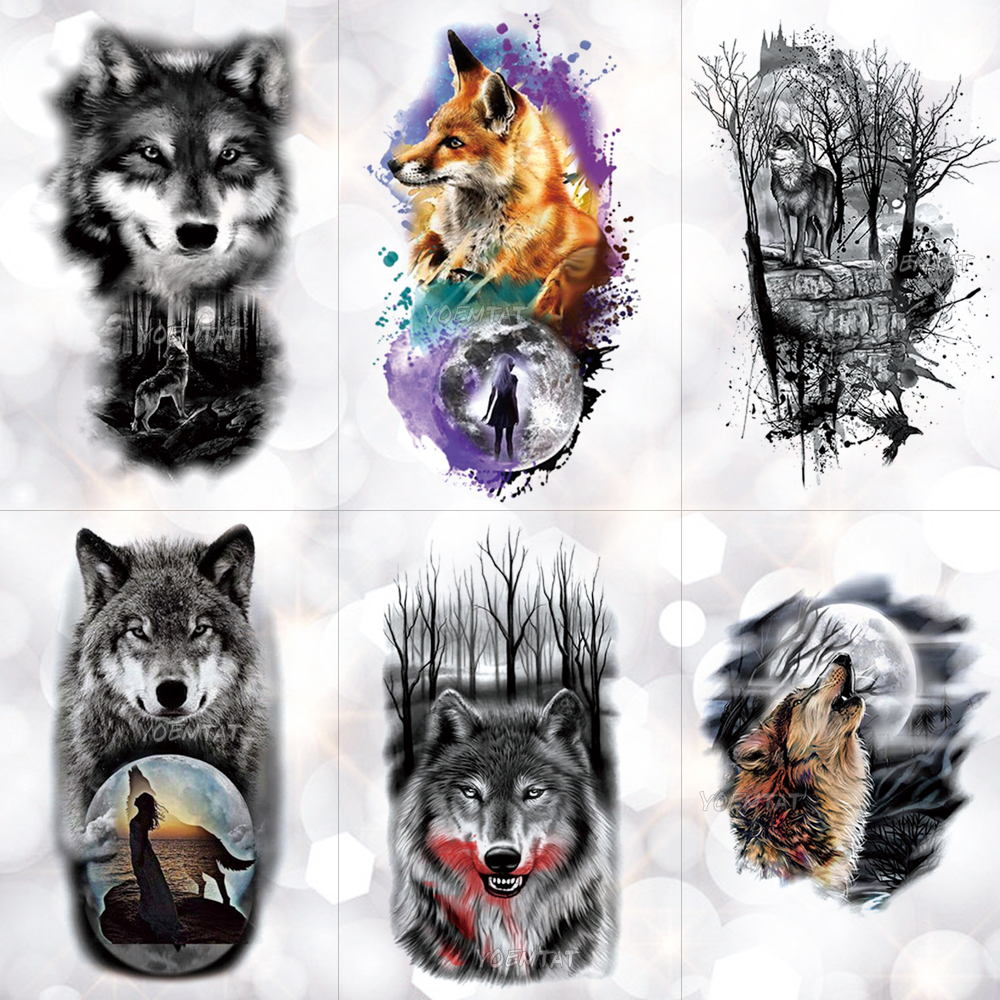 Tribal Wolf Moon Pine Tree Temporary Tattoo Sticker Fox Waterproof Tattoos Forest Body Art Arm Fake Tatoo Men Women