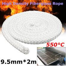 Corda de fibra branca de alta densidade, 2m, 9.5mm, aquecedor de fogão a lenha, junta para aquecedores comercial domésticos fornos