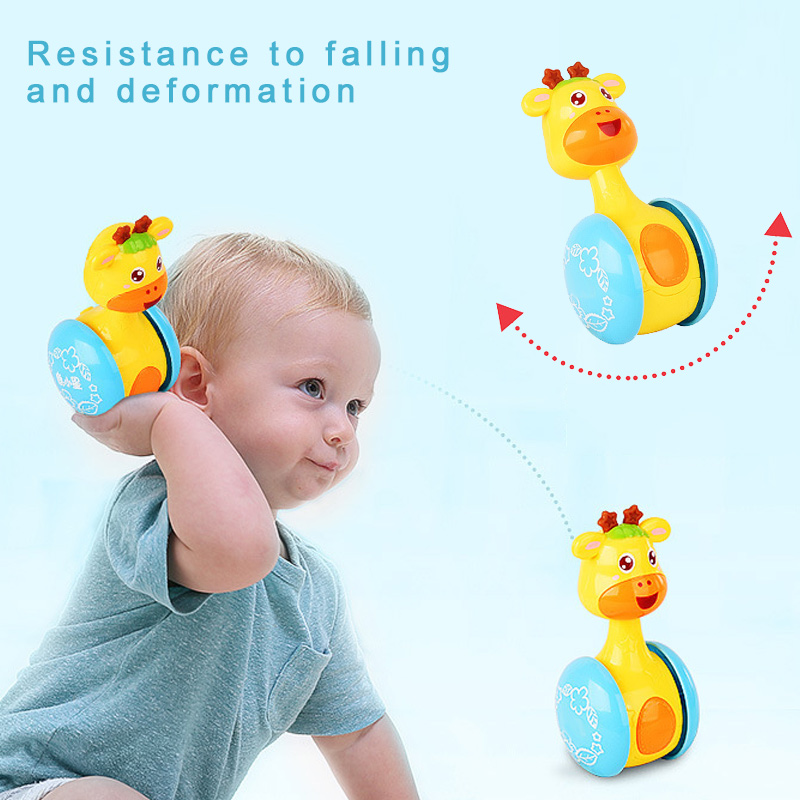 1 Pcs Giraffe Baby Rattles Tumbler Doll Roly poly Bell Kid Learning Rattle Toys YH 17