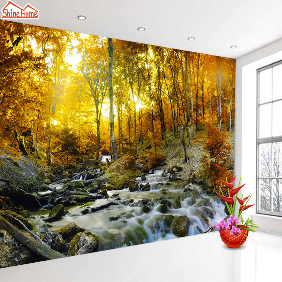 ShineHome-Nature Forest Custom 3D Wallpaper Sunset Waterfall River Wallpapers for 3 d Living Room Bedroom Bar TV Cafe Wall PaperShineHome-Nature Forest Custom 3D Wallpaper Sunset Waterfall River Wallpapers for 3 d Living Room Bedroom Bar TV Cafe Wall Paper