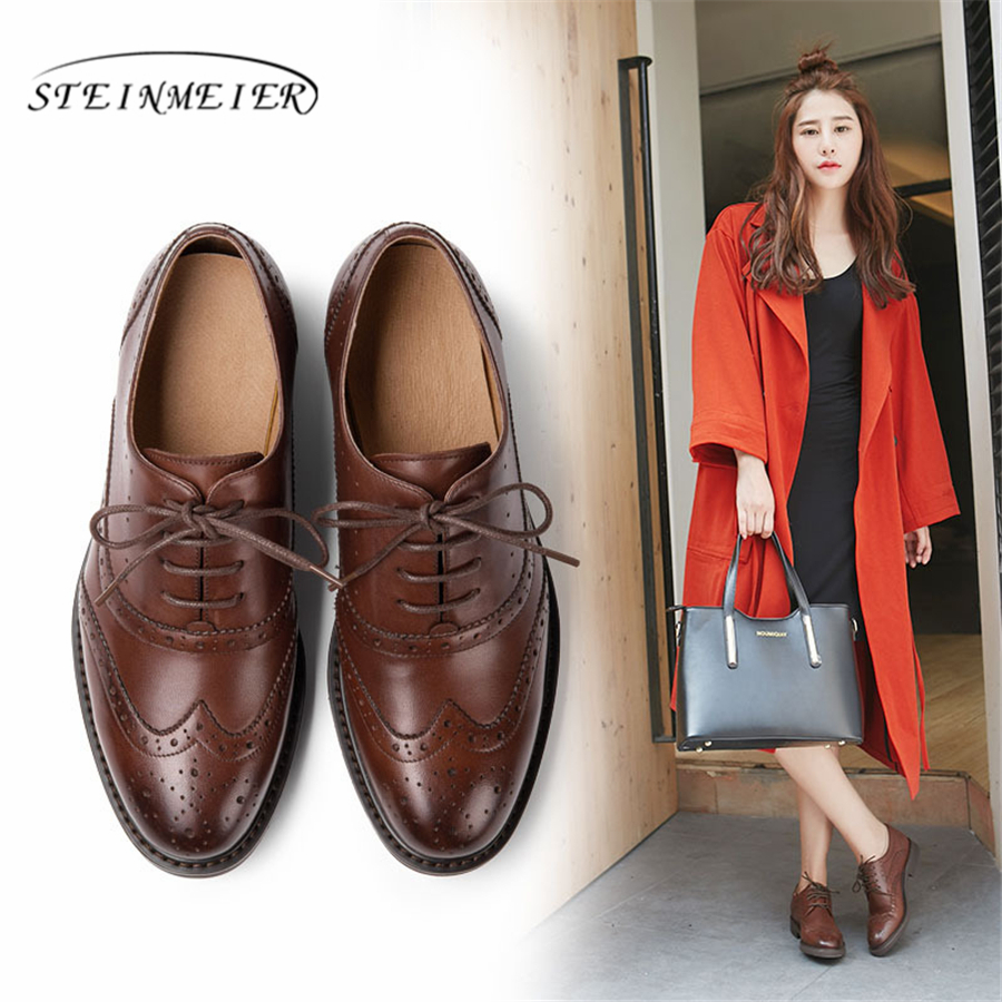 Yinzo Women s Flats Oxford Shoes Woman Genuine Leather Sneakers lady brogues Vintage Casual shoes for