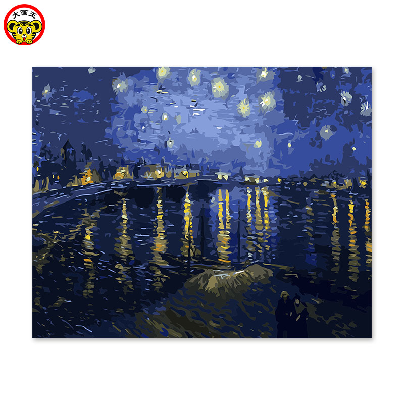 painting by numbers art paint by number diy oil   decorative painting room sofa background paintings Van Gogh starry night