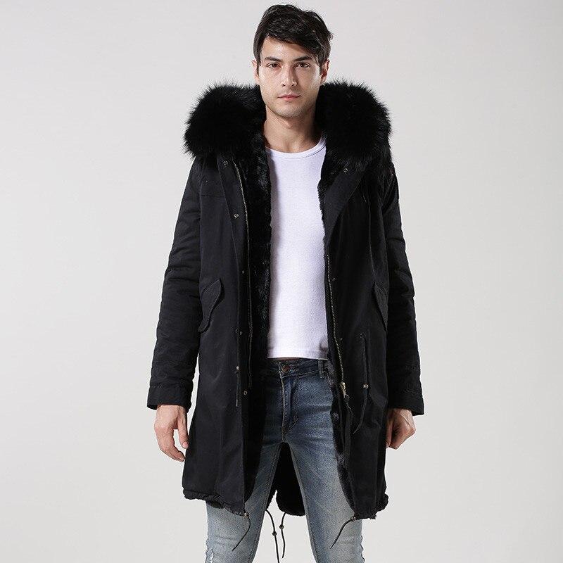 Casual mode Italie conception Monsieur raton laveur capuche fourrure longue veste, vert d'armée, bleu foncé, noir doublé de fourrure fourrures parka