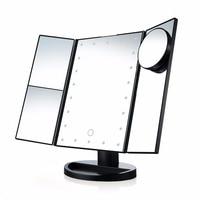 21 Luci LED Portatile Tre Pieghevole Lampada Da Tavolo A LED Luminoso Specchio Per Il Trucco Specchio Cosmetico con 10X di Ingrandimento Piccolo Specchio