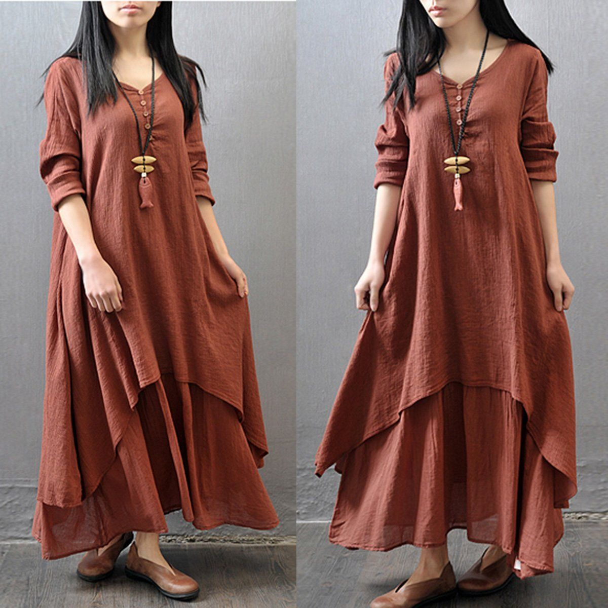 Sexy Women Peasant Ethnic Boho Cotton Linen Long Sleeve Loose Solid Plain Maxi Dress Women Dresses