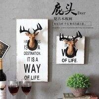 Cổ điển Trang Trí Nhà Deer Tường Đầu Trang Trí Resin Thủ Công Mỹ Nghệ Animal Deer Living Room Bar Phòng cửa hàng Poster Tường Trang Trí Gỗ Tranh