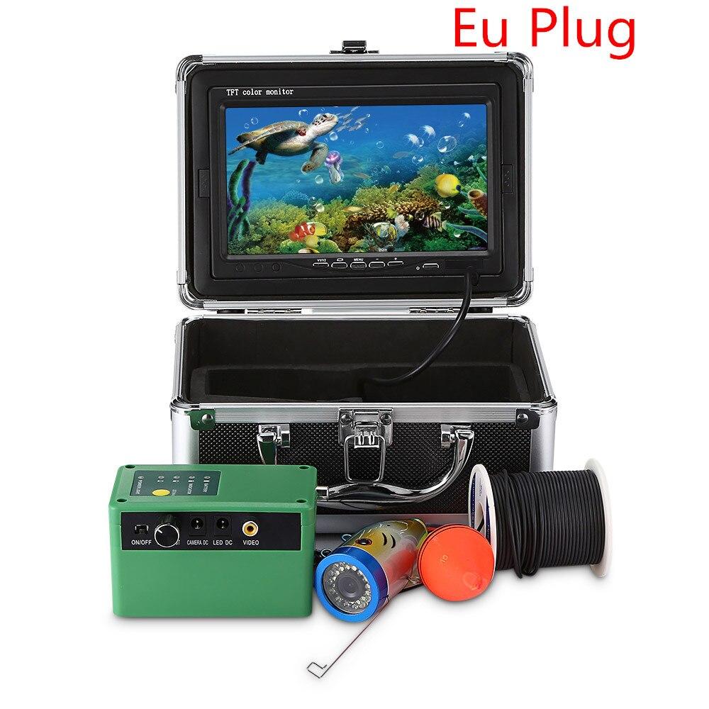 7,0 дюймов 15 м 1000TVL подводный рыболокатор рыболовная камера 15 шт белые светодиоды+ 15 шт инфракрасная лампа рыболокатор IP68 водонепроницаемый - Цвет: EU PLUG