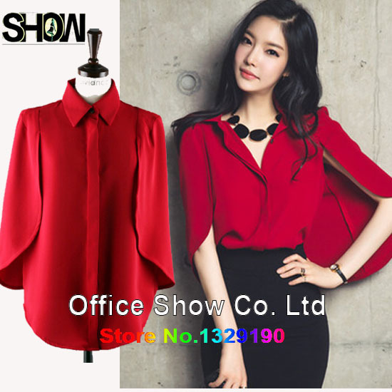 New Arrival Hot Korean Fashion Women Plus Size Batwing Blouse Las Office Shirts Work Wear Elegant Red Tops Linen Shirt In Blouses From