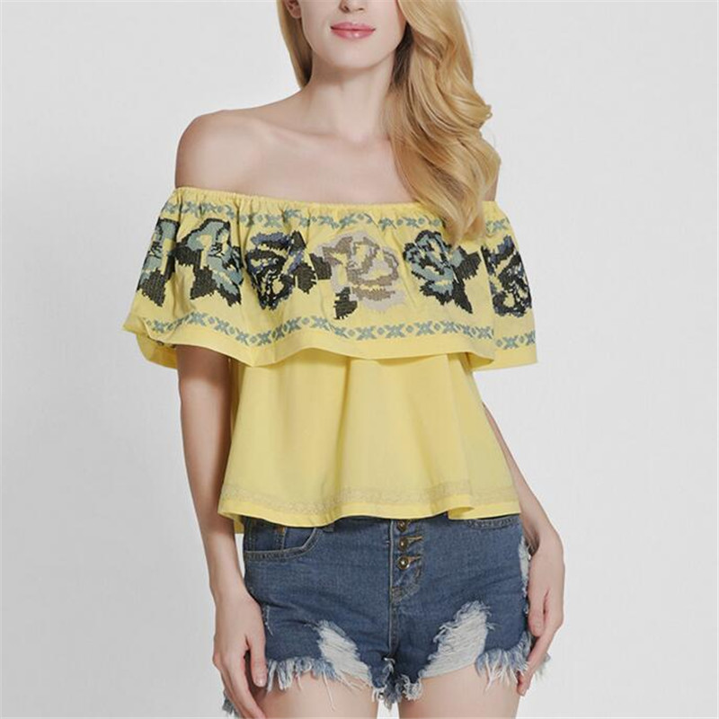 2017 Embroidery Floral Ruffles Strapless Off The Shoulder Loose Crop Tops Women Fashion Clubwear Bustier Tank