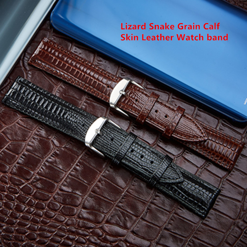 Lizard Snake Grain Calf Skin <font><b>Leather</b></font> 12 14 16 18 20 <font><b>22</b></font> 24 <font><b>mm</b></font> Men's <font><b>Watches</b></font> Straps <font><b>Band</b></font> Bracelet Belt Watchband And Tool image