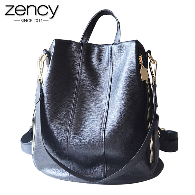 New design women backpack a bag with genuine leather High capacity Casual fashion Purse for female