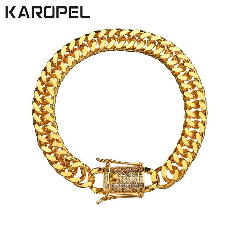 Karopel Iced Zircon Cuban Chain Bracelet AAA CZ Golden Men's Hip Hop Miami Cuban Link Bracelet Micro Pave Cubic Zircon Clasp