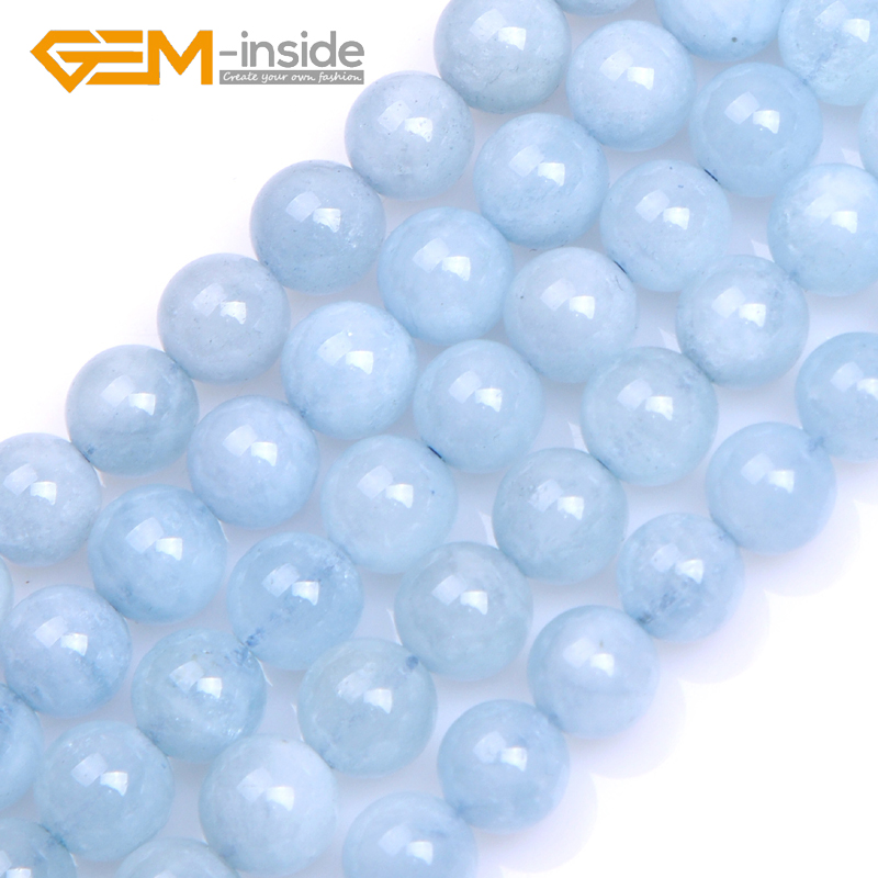 Round Blue Aquamarin e Beads: 4mm to14mm Natural Stone Beads DIY Beads For Bracelet or Necklace Making Strand 15 DIY Gifts!!