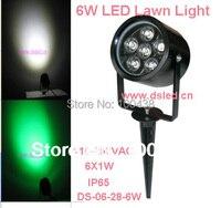 ¡Envío Gratis! Luz de césped LED de 6 W  foco LED de pico  110V-250VAC  DS-07-1-6W  garantía de 2 años  accesorio de aluminio de buena calidad