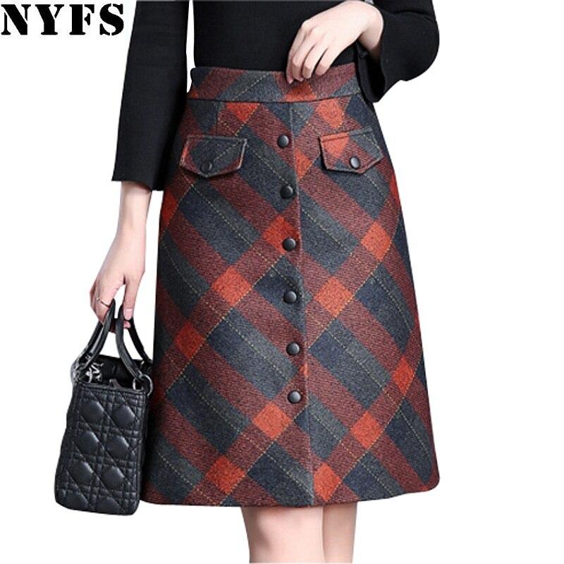 NYFS 2020 New Autumn Winter Woolen Plaid Skirts Fashion PLaid Hip Skirt Women Slim Office Skirt Faldas Mujer Saias