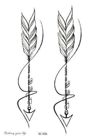 5ba9fbdf402f5 Rocooart SC556 Black White Arrows Tatuagem Women Waterproof Temporary  Tattoo Sticker Body Art Fake Tattoo Drawing