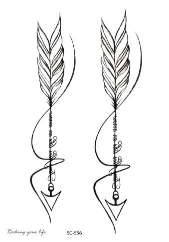 Rocooart SC556 Black White Arrows Tatuagem Women Waterproof Temporary Tattoo Sticker Body Art Fake Tattoo Drawing Taty For Men