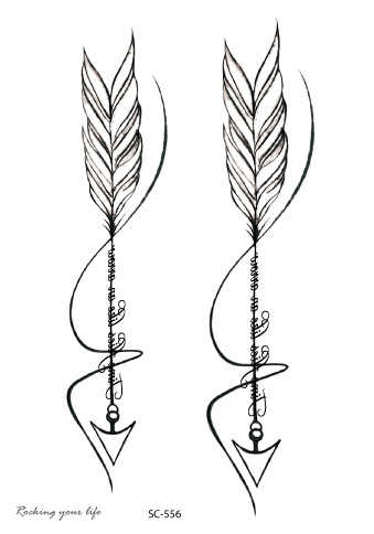 Rocooart SC556 negro blanco flechas Tatuagem mujeres impermeable tatuaje temporal Calcomanía para arte corporal tatuaje falso dibujo Taty para hombres