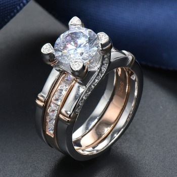 Hutang Luxury 2Pcs Rose Gold 925 Sterling Silver Wedding Ring Sets 4.66ct Simulated Diamond CZ Engagement Fine Jewelry for Women 1