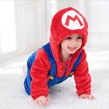 Baby Mario Luigi Fratelli Kigurumi Appena Nato Infantile Del Pagliaccetto Animale Tutina Cosplay Costume Outfit Con Cappuccio Della Tuta di Inverno del Vestito della Molla