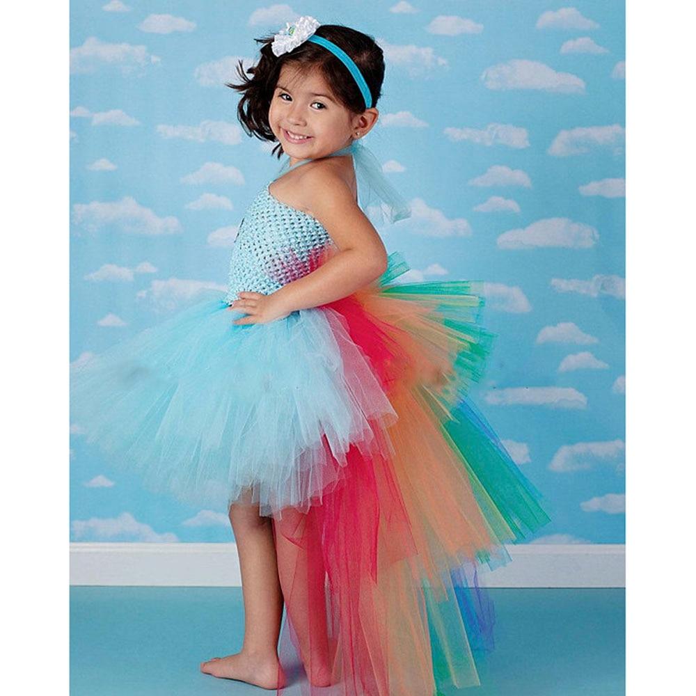Rainbow Pony Unicorn Bustle Tutu Dress Kids Birthday Photo Prop Halloween Costume Baby Infant Toddler Girls Outfit Tutu Dresses
