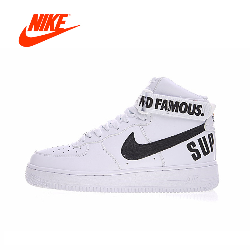 Nuovo Arrivo originale Autentico Supreme x Nike Air Force 1 SP di ALTA delle Donne Scarpe da pattini e skate Sport Outdoor Sneakers 698696- 100
