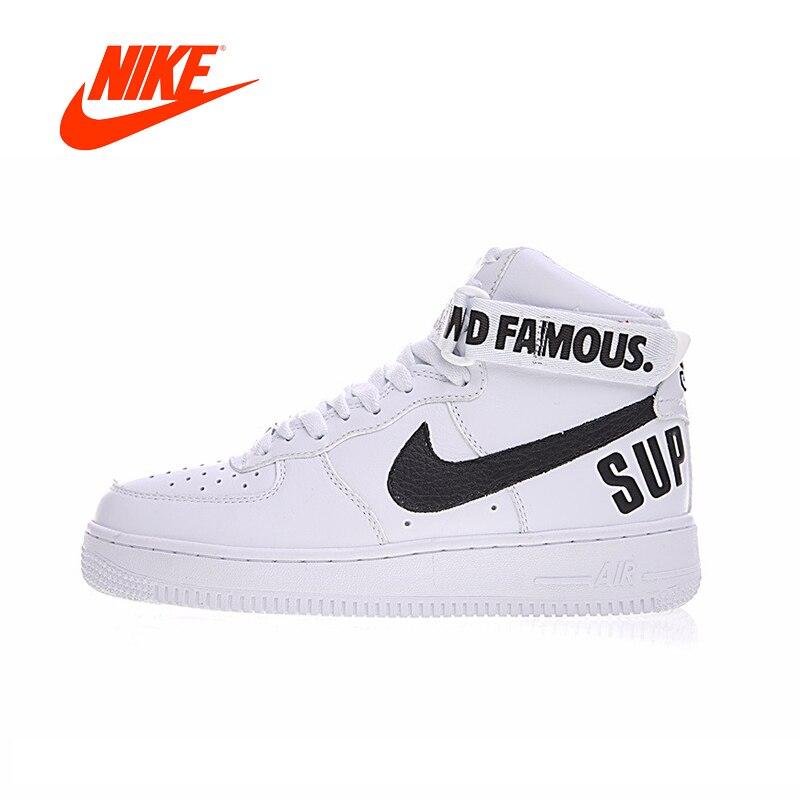 Original Nouvelle Arrivée Authentique Suprême x Nike Air Force 1 SP HAUTE Femmes de Planche À Roulettes Chaussures Sport En Plein Air Sneakers 698696 -100