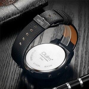 Image 4 - Oulm ייחודי חדש ספורט שעונים לגברים יוקרה מותג מקרית עור מפוצל צבאי שעון זכר דקורטיבי מצפן קוורץ שעון גבר