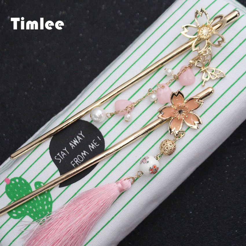 Hair Jewelry Learned Timlee H020 Free Shipping Sweet Pink Cherry Blossom Butterfly Flower Tassels Hair Sticks Beautiful Hair Accessory Wholesale Superior Materials Jewelry & Accessories