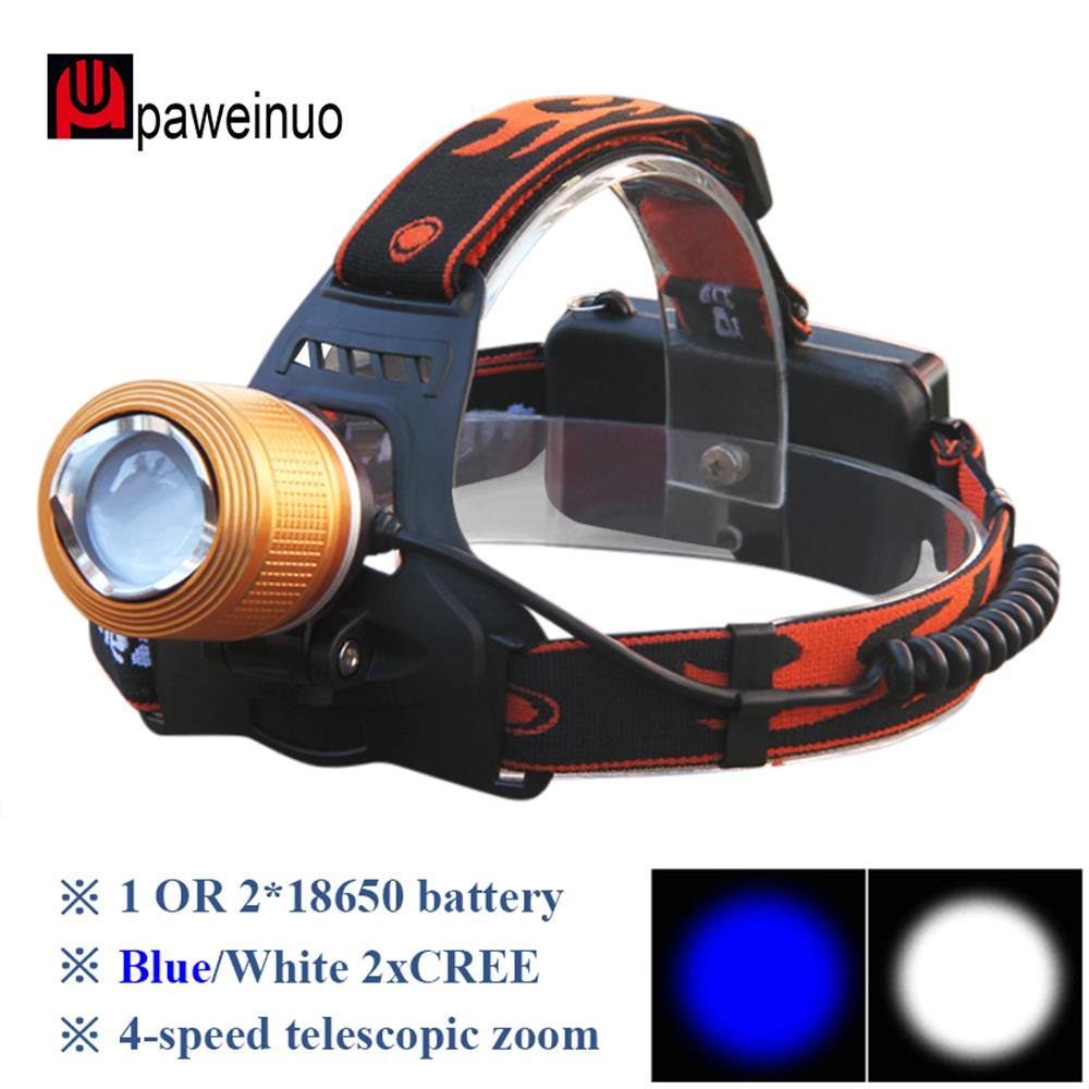 Zoomable Led Headlight LED Headlamp 2x Cree Q5 LED Bulbs White And Blue Fishing Light Rechargeable Lantern 18650 Head Lamp Light