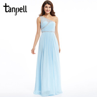 Tanpell One Shoulder Evening Dress Cheap Sky Blue Sleeveless Floor Length Dresses Newest Beaded A Line