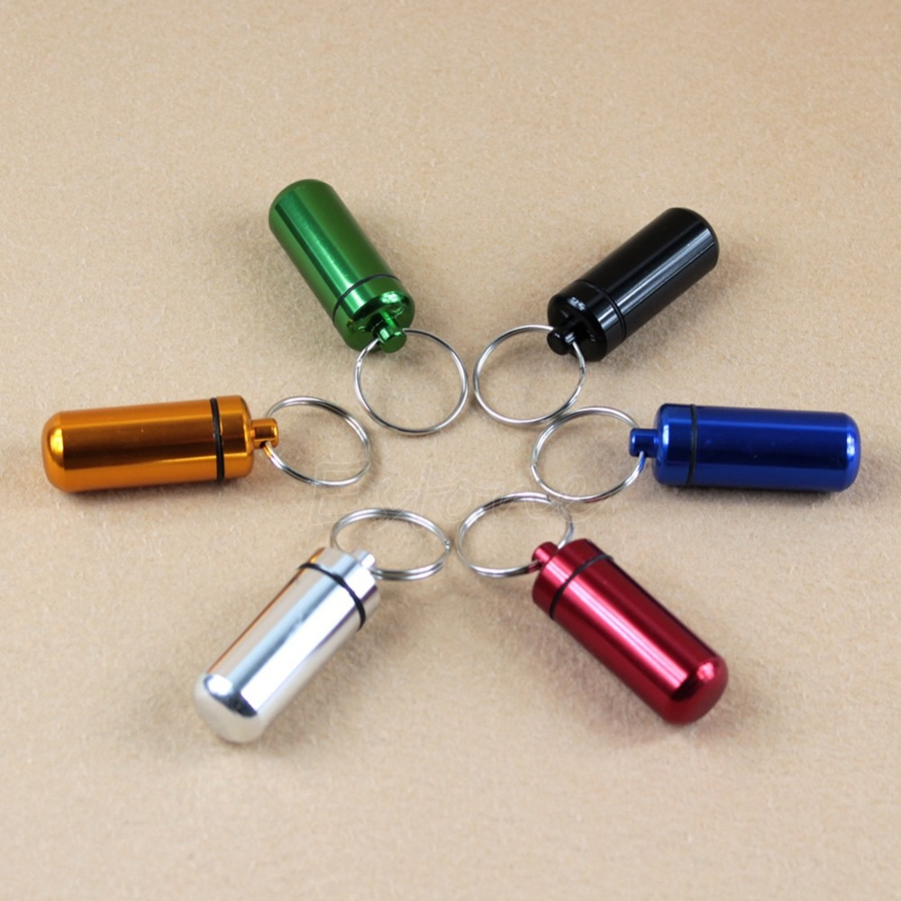 Горячие 6 Цветов Водонепроницаемый Алюминиевый Pill Box Дело Бутылка Кэш Держатель Наркотиками Брелок Контейнер