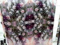 משלוח נשים סופר מחשב High-end ציור דיגיטלי כבד נמתח טבעי משי פרחי שושן סגול בד ארוג סיטונאי רחב