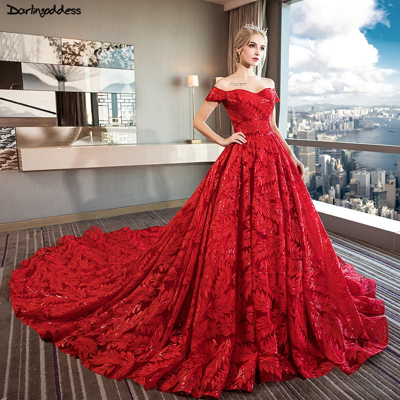 Red And White Wedding Dresses 2013: Luxury Long Train Wedding Dress 2019 Ball Gown Off