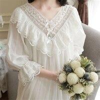 خمر الملكي الأميرة النوم الحلو الدانتيل العنق قمصان طويلة الأكمام بيضاء طويلة اللباس الأنيق سيدة صالة النوم