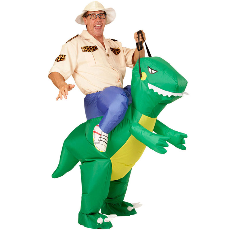 Inflatable Green Dinosaur Adult Costume Ride-on Animal Fun Toy Halloween For Man Women Party Dress Cosplay Clothes Free Shipping