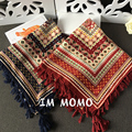 Ethnic Geometry New Style Brand Square Tassel Cotton Scarf  Hijab Shawl For Women Foulard Fashion Bandana and Pashmina 110*110CM