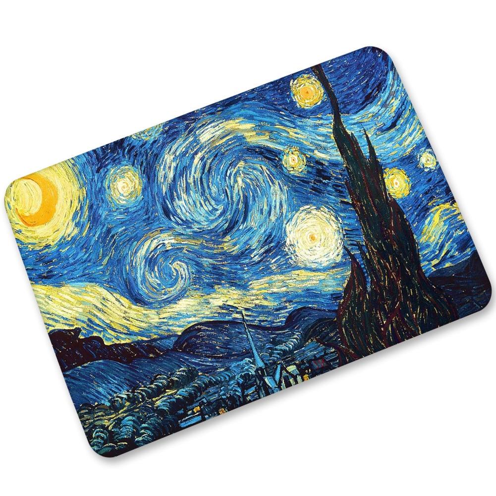 Can you paint rubber floor mats - Van Gogh Abstract Oil Painting Rubber Flocking Entrance Floor Mat Bathroom Kitchen Flooring Carpet Mordern Living