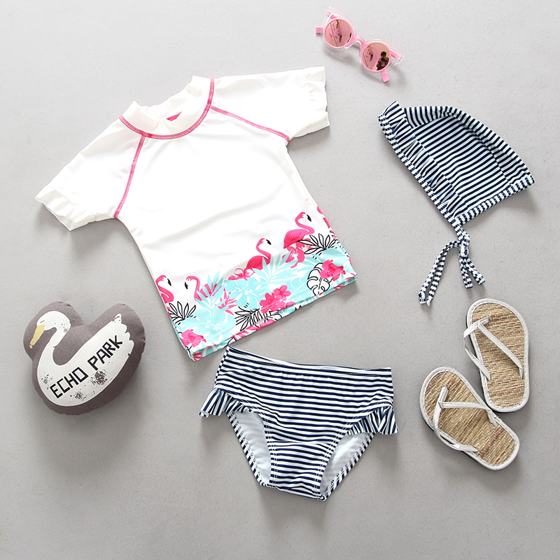 Baby Flamingo Swimwear Girls 2 Pieces Swimming Suit Bathing Suits Cartoon White Striped Toddler Girl Child Swimsuit 0-6 Years