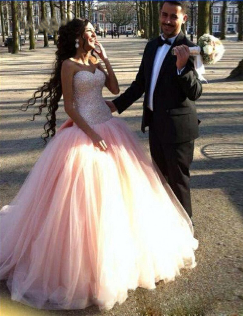 Beautiful Beaded Pink Ball Gown Wedding Dresses Strapless Dropped ...
