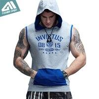 Aimpact GYM Workout Men S Sleeveless Hoodies Patchwork Bodybuilding Train Fitness Contrast Sport Pocket Tank Top