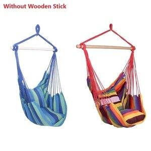 Image 2 - Cadeira de jardim pendurado balançando interior ao ar livre redes de lona grossa dormitório balanço com 2 travesseiros rede sem varas de madeira