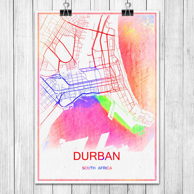 Durban south africa colorful world city map print poster abstract coated paper bar pub living room