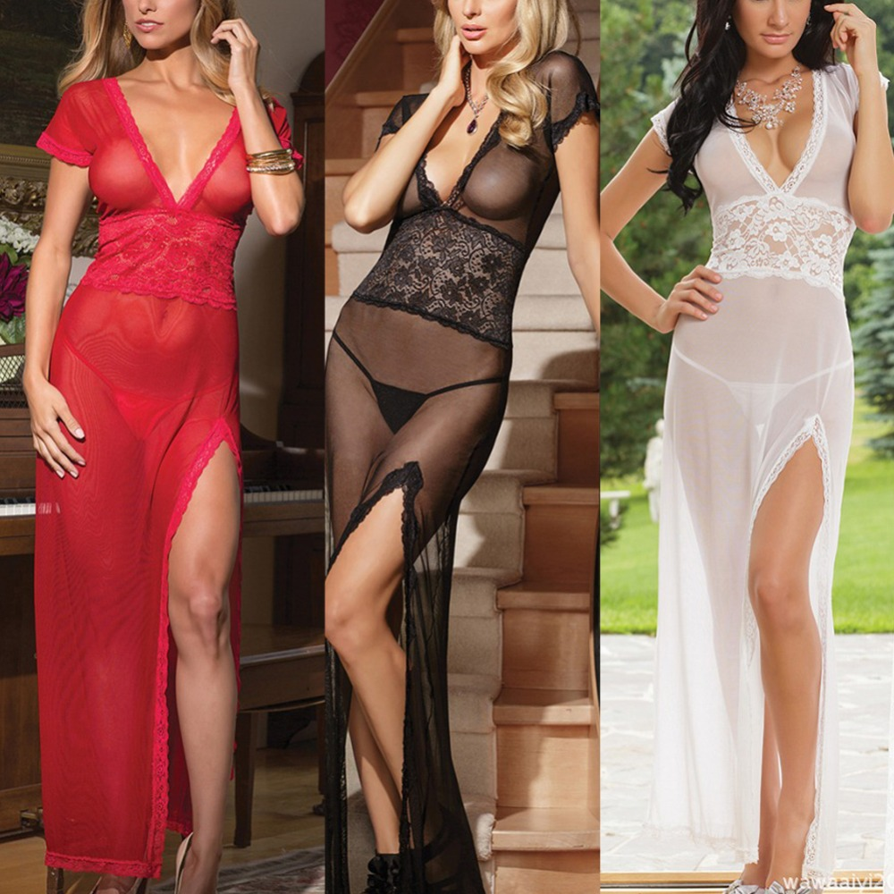 Hot! <font><b>Adult</b></font> <font><b>Sexy</b></font> Women Mesh Night <font><b>Dress</b></font> Long Transparent <font><b>Dress</b></font> Sleepwear Nightwear image