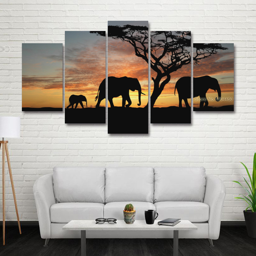 5 Panel Painting Canvas Wall Art African Elephant Scenery Landscape ...