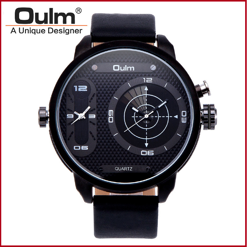 OULM Watch Men A Unique Designer New Top Fashion Big Dial Quartz Watch GMT Luxury Watches For Business Men erkek kol saati