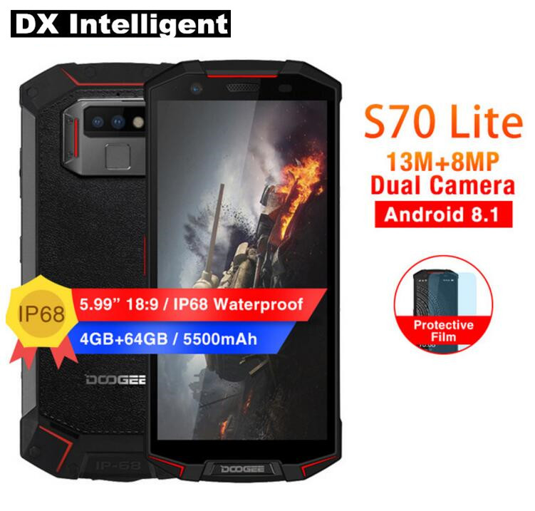 Ship from RU DOOGEE S70 Lite 4GB 64GB IP68 Waterproof Mobile Phone 5.99inch Helio P23 Octa Core Android 8.1 13MP Dual Camera NFC