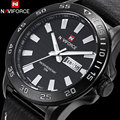 NAVIFORCE 2017 CHINA brand Sport watches man fashion quartz watch 30m waterproof black dial date week display brown leather band